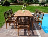 zum Angebot Gartengarnitur Rustikale Super Edle TEAK Gartenset Gartenmöbel mit Ausziehtisch