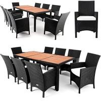 zum Angebot Gartenmöbel-Set Polyrattan Sitzgruppe 8+1 Tischplatte aus Akazienholz