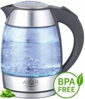 zum Angebot Wasserkocher Glas Edelstahl Adler exclusive blaue LED Beleuchtung