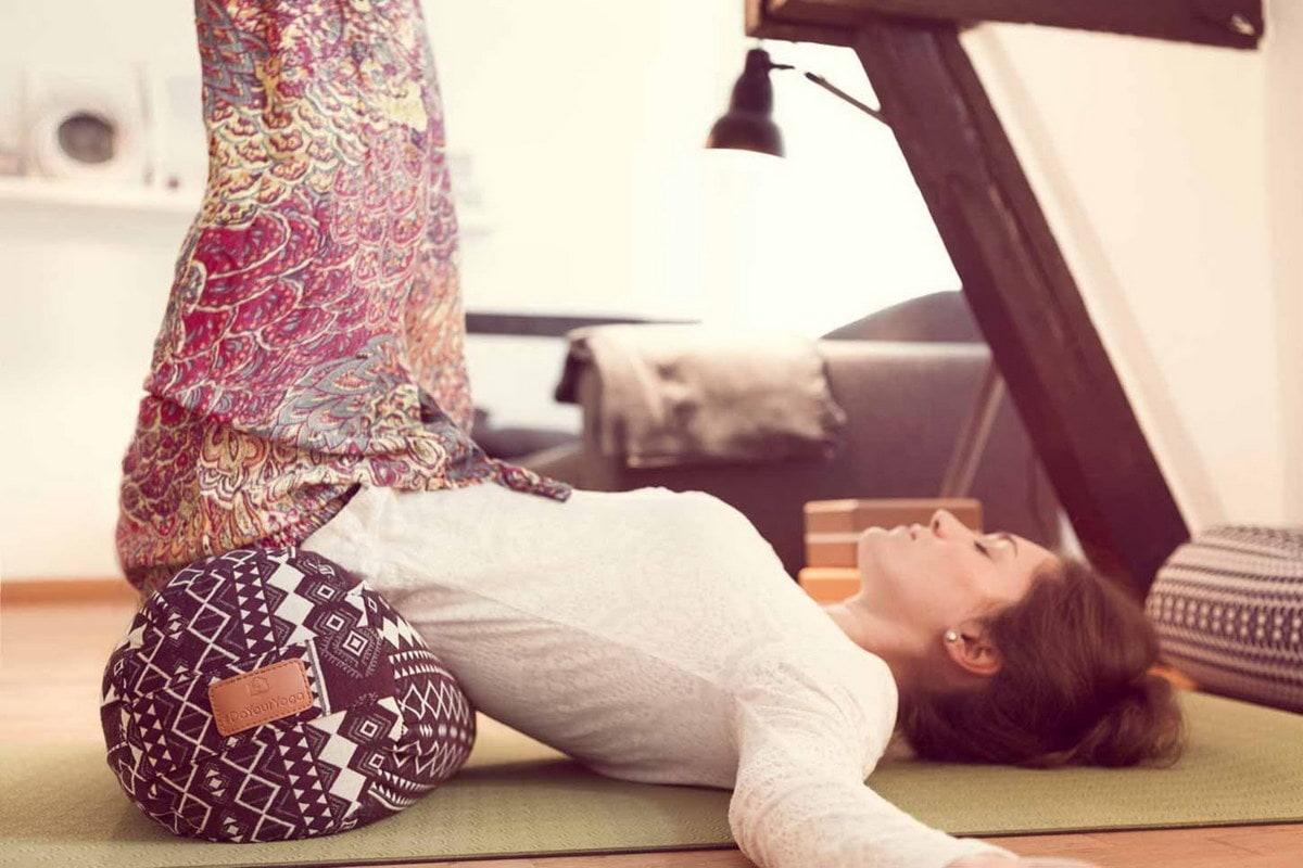 Yoga Bolster 67cm Yogakissen Übungskissen 100/% Baumwolle Bio-Dinkelspelz Füllung