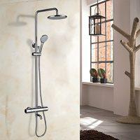 zum Angebot Duschsystem Kinse® Elegant Chrom Überkopf-Brauseset rain Duschstange
