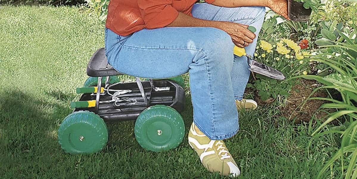 Fahrbarer Gartensitz
